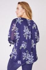 Roz & Ali Lurex Tie Sleeve Bubble Hem Blouse- Plus - Navy/Sage/Blue - Back