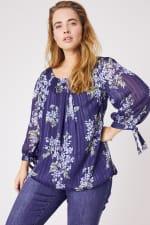 Roz & Ali Lurex Tie Sleeve Bubble Hem Blouse- Plus - Navy/Sage/Blue - Front