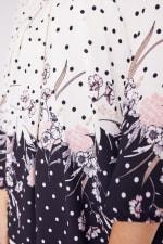 Roz &  Ali Border Dot Crepe Bubble Hem Blouse - Plus - Blush/Ivory/Black - Detail