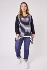 Roz & Ali Contrast Stripe Sweater - Plus - 1