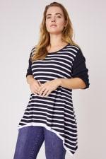 Roz & Ali Contrast Stripe Sweater - Plus - 3