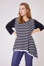 Roz & Ali Contrast Stripe Sweater - Plus - 4