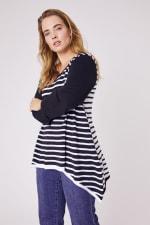 Roz & Ali Contrast Stripe Sweater - Plus - 5