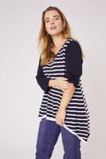 Roz & Ali Contrast Stripe Sweater - Plus - Black/Cream - Front