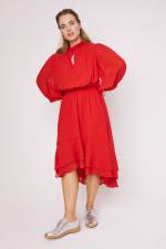 Karen Ruffle Hem  Hi Low Dress - Plus - 12