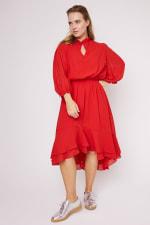 Karen Ruffle Hem  Hi Low Dress - Plus - 13