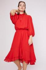 Karen Ruffle Hem  Hi Low Dress - Plus - 16