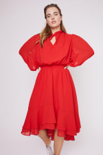 Karen Ruffle Hem  Hi Low Dress - Plus - 15