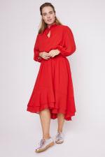 Karen Ruffle Hem  Hi Low Dress - Plus - 14