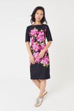 Scuba Floral Sheath Midi Dress - 4