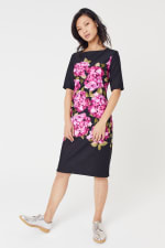 Scuba Floral Sheath Midi Dress - 1