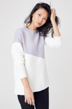 Roz & Ali Colorblock Pullover Sweater - Pearl Grey/Winter White - Front