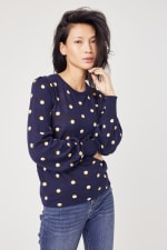 Roz & Ali Novelty Dot Pullover Sweater - Navy/Gold/White - Front