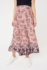 Roz & Ali Hacci Aline Border Print Maxi Skirt - Blush/Taupe/Black - Front