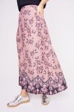 Roz & Ali  Hacci Aline Border Print Maxi Skirt - Plus - 4