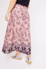 Roz & Ali  Hacci Aline Border Print Maxi Skirt - Plus - Blush/Taupe/Black - Back