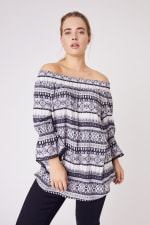 """Westport  """"On And Off The Shoulder Top"""" - Plus - Ivory/Black - Front"""