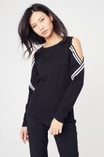 Sporty Cold Shoulder Sweater - 9