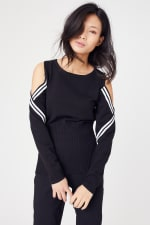 Sporty Cold Shoulder Sweater - 8