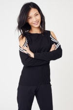 Sporty Cold Shoulder Sweater - 12