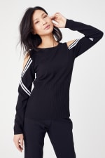 Sporty Cold Shoulder Sweater - 10