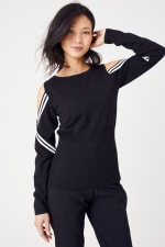 Sporty Cold Shoulder Sweater - 11