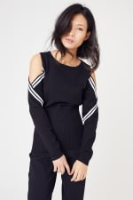 Sporty Cold Shoulder Sweater - 1