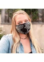 St. Kitts Harem Pants + Nose Wire Pleated Face Mask - Black / Cream - Back