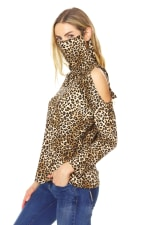 """Never Forget Your Mask"" Leopard Hoodie Cold Shoulder Top - 2"