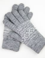 Snowflake Knit Touch Gloves - Grey Combo - Front