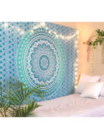Sky Blue Twin Tapestry - Sky Blue - Back