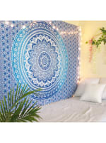 White Blue Twin Tapestry - 2