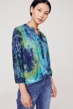 Roz & Ali Tie Dye Clip Jacquard Popover - Blue-Green - Detail