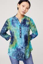 Roz & Ali Tie Dye Clip Jacquard Popover - Blue-Green - Front