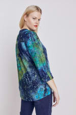 Roz & Ali Tie Dye Clip Jaquard Popover - Plus - Blue-Green - Back