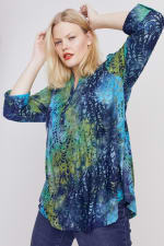 Roz & Ali Tie Dye Clip Jaquard Popover - Plus - Blue-Green - Front
