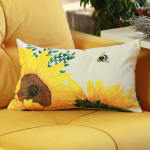 """Set of 2 20"""" Sunflower Bee Lumbar Pillow Cover in Multicolor - 1"""