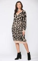 Stelle Long Sleeve Animal Print Sweater Dress - 1