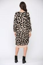 Stelle Long Sleeve Animal Print Sweater Dress - 3