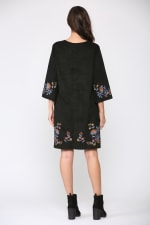 Avery 3/4 Sleeve A-Line Embroidered Dress - Black floral - Back