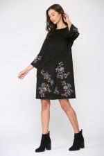 Avery Three Quarters Sleeves A-Line Embroidered Dress - 3