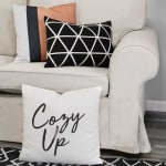 Light Coral and Black Color Block Square Pillow - 2