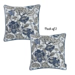 """Set of 2 17"""" Jacquard Weaver Throw Pillow Cover in Blue - 2"""