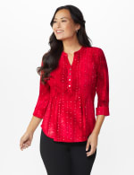 Roz &  Ali Red Sequin Tie Dye Popover - Deep Red - Front