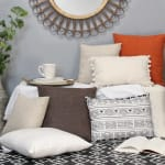 Burnt Orange Tweed Textured Velvet Square Pillow - 1