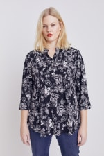 Black And White Floral Pintuck Popover - Plus - 3