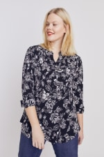 Black And White Floral Pintuck Popover - Plus - 5