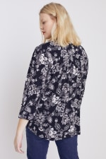 Black And White Floral Pintuck Popover - Plus - 2