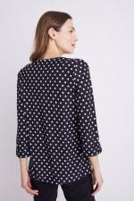 Roz & Ali Jacquard Dot Knit Popover - Black/Ivory - Back
