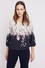 Roz & Ali Border Dot Crepe Bubble Hem Blouse - Blush/Ivory/Black - Front